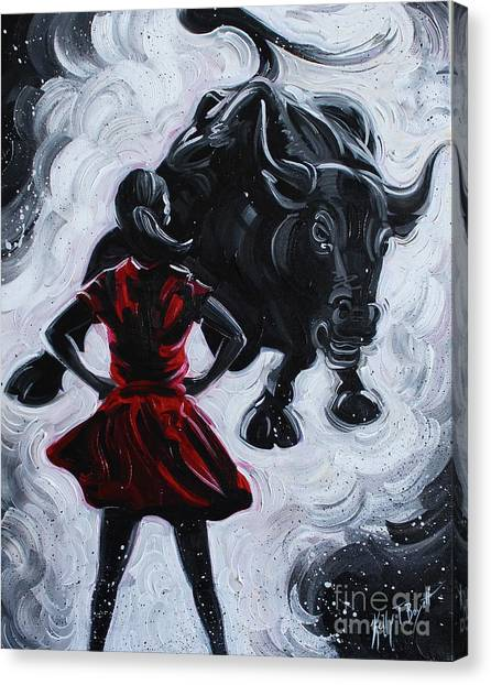 New York Red Bulls Canvas Print - Fearless Girl by Kelly Boyett