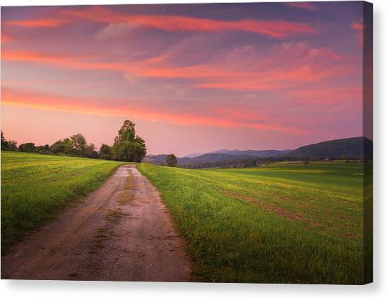 Feathered Sky Over Sheffield Hill Canvas Print