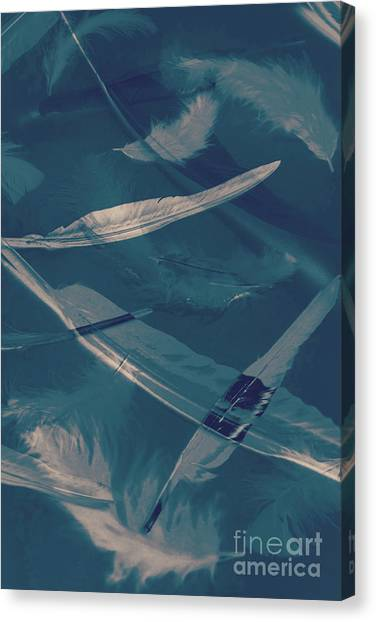 Serene Canvas Print - Feathers Floating In The Air by Jorgo Photography - Wall Art Gallery