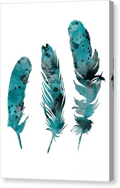 Home Canvas Print - Feathers Watercolor Painting by Joanna Szmerdt