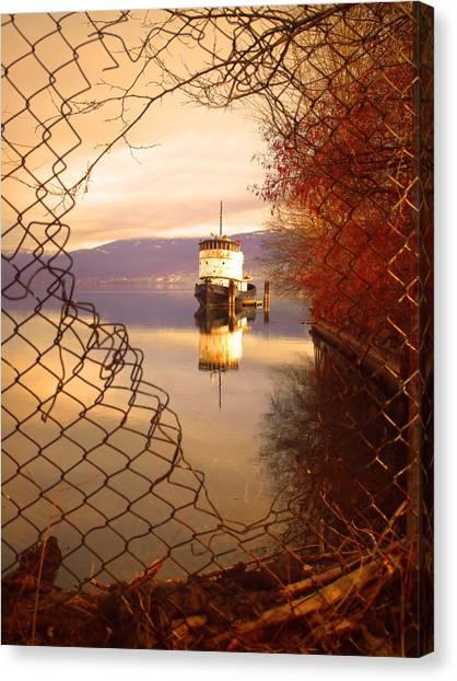 Chain Link Fence Canvas Print - February 13 2010 by Tara Turner