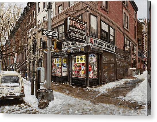 February Pharmacy Canvas Print by Ted Papoulas