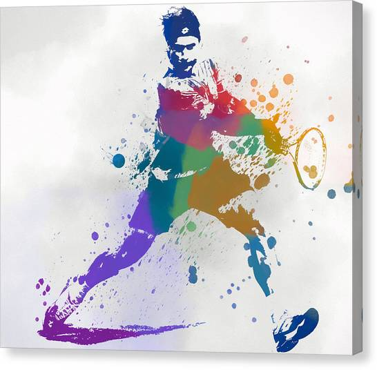 Roger Federer Canvas Print - Federer Paint Splatter by Dan Sproul