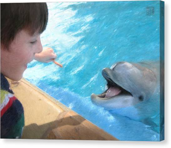 Feeding A Friend Canvas Print