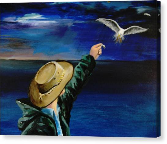 Feeding My Gull Friend Canvas Print by Larry Whitler