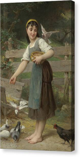 Academic Art Canvas Print - Feeding The Doves by Emile Munier