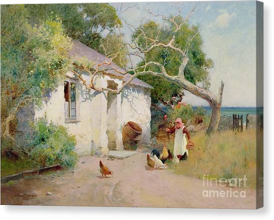 Country Canvas Print - Feeding The Hens by Arthur Claude Strachan