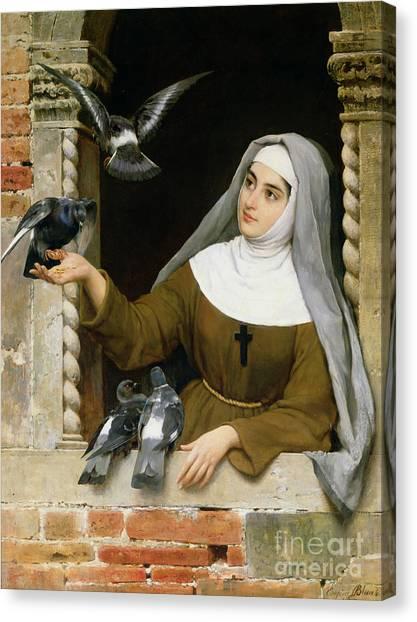 Nuns Canvas Print - Feeding The Pigeons by Eugen von Blaas