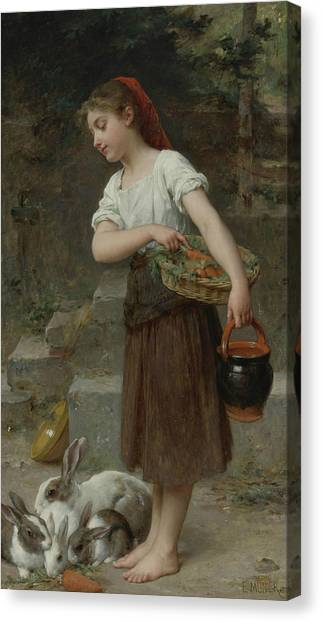 Academic Art Canvas Print - Feeding The Rabbits by Emile Munier