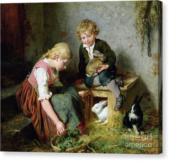 Easter Baskets Canvas Print - Feeding The Rabbits by Felix Schlesinger