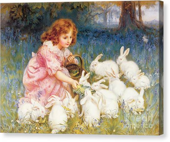 Spring Trees Canvas Print - Feeding The Rabbits by Frederick Morgan