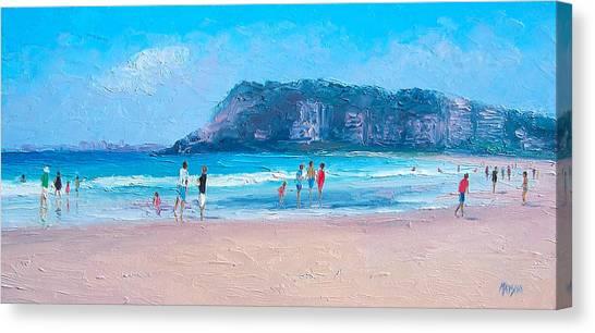 People Walking On Beach Canvas Print - Feels Like Summer At Burleigh Heads Gold Coast by Jan Matson