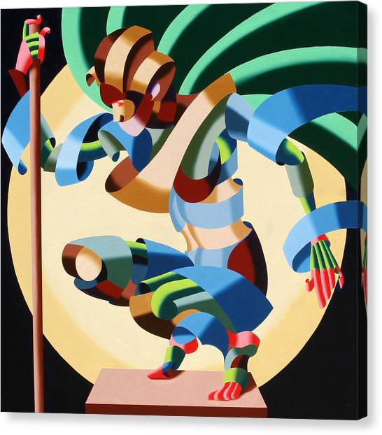 Felicia 1424 - Abstract Futurism Oil Painting Canvas Print by Mark Webster