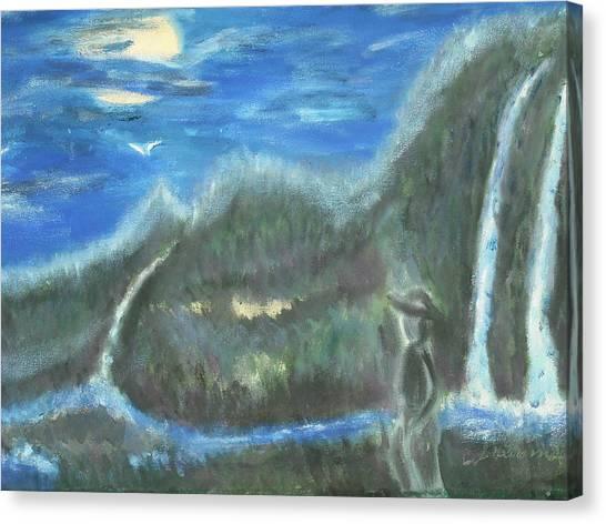 Feline Water Falls Canvas Print by BJ Abrams