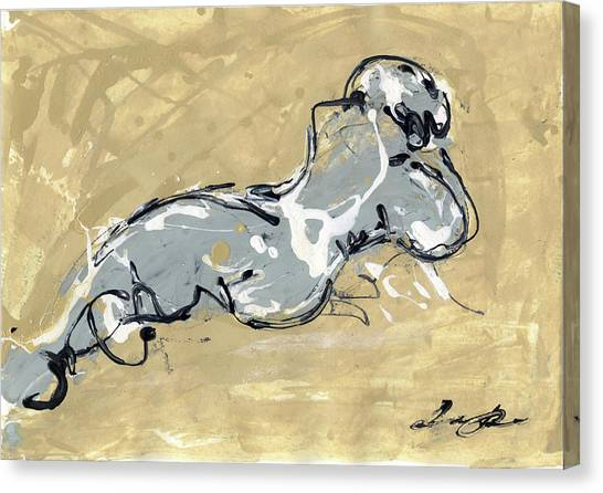 Nude Art Canvas Print - Female Abstract Nude by Juan Bosco