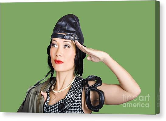 Aviators Canvas Print - Female Aviation Lady Saluting In Pin-up Class by Jorgo Photography - Wall Art Gallery
