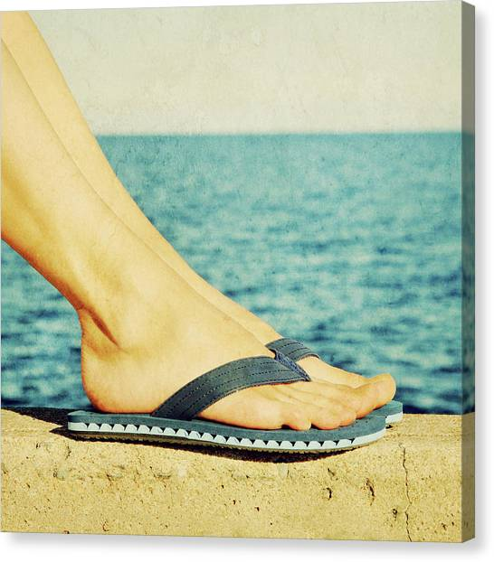 Young Woman Canvas Print - Female Feet In Blue Flip-flops, Retro Image by GoodMood Art