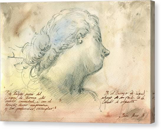 Nude Art Canvas Print - Female Head Study by Juan Bosco