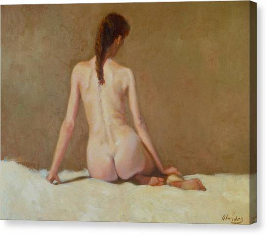 Female Nude   Back View      Canvas Print by David Olander