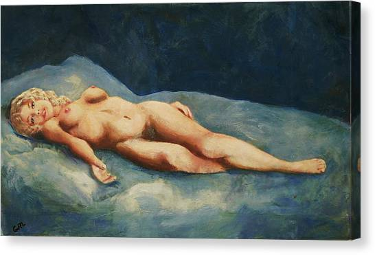 Canvas Print featuring the painting  Female Nude Brigit Reclining With Blue by G Linsenmayer