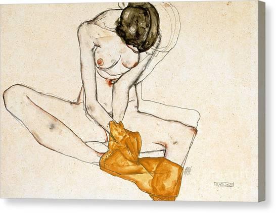 Pencil On Canvas Print - Female Nude by Egon Schiele