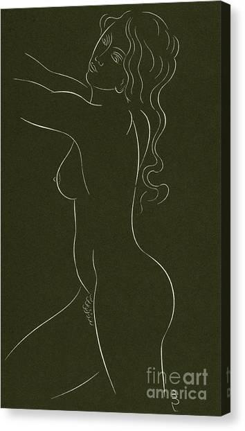 Long Hair Canvas Print - Female Nude by Eric Gill