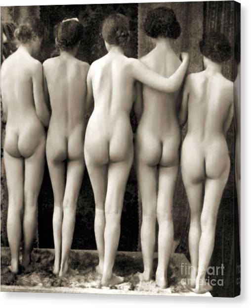 Sexuality Canvas Print - Female Nude Quintet by French School