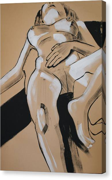 Female Nude Reclining Canvas Print by Joanne Claxton