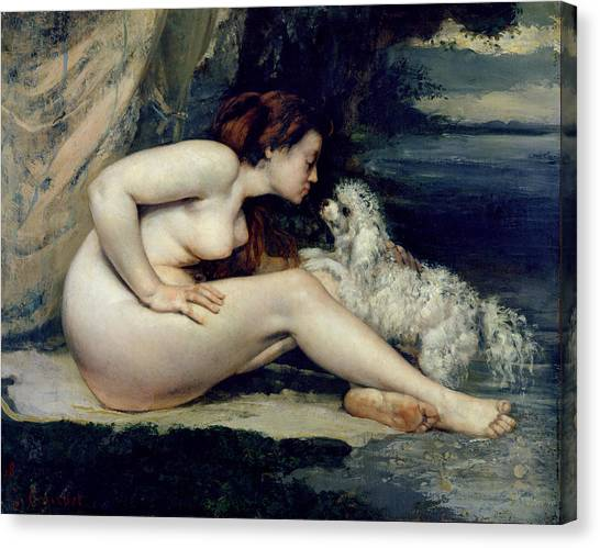 Naked Woman Canvas Print - Female Nude With A Dog by Gustave Courbet