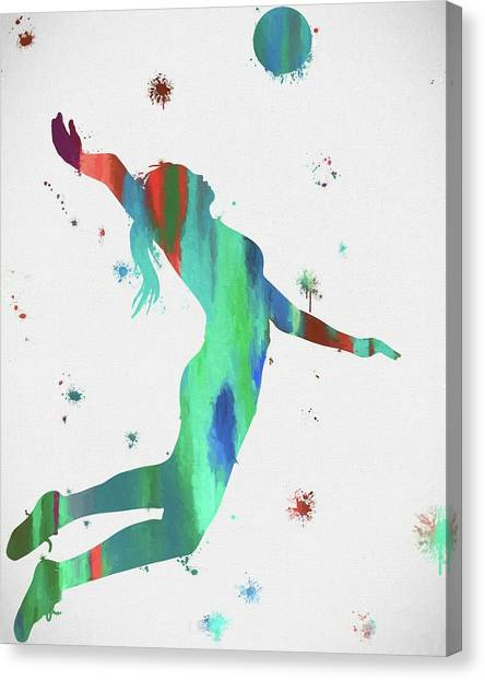 Volleyball Canvas Print - Female Volleyball Player by Dan Sproul