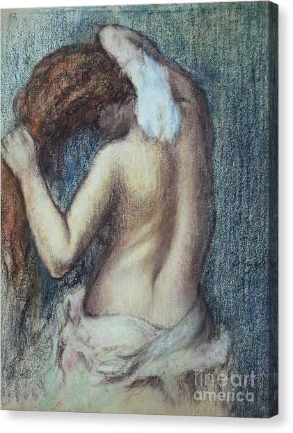 Sexuality Canvas Print - Femme A Sa Toilette by Edgar Degas