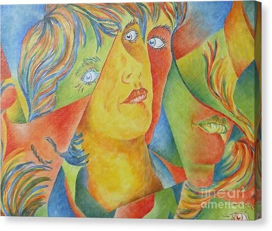 Femme Aux Trois Visages Canvas Print