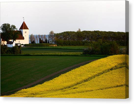 Femoe Fields And Church Canvas Print