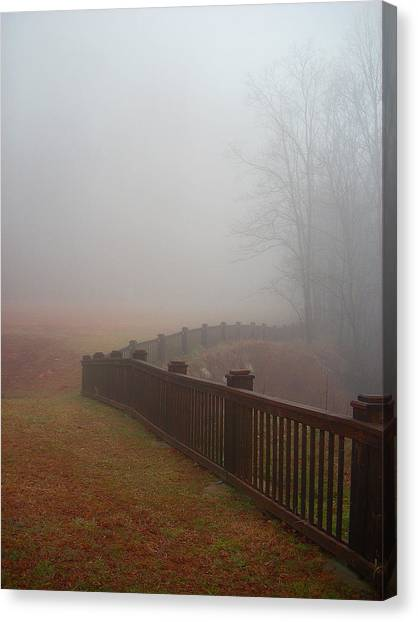 Fence And Fog Canvas Print by Beebe  Barksdale-Bruner