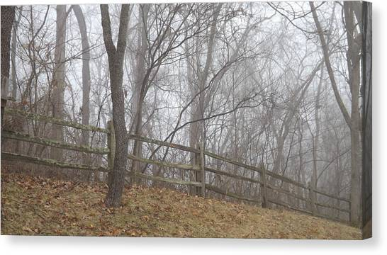 Fence And Fog Canvas Print