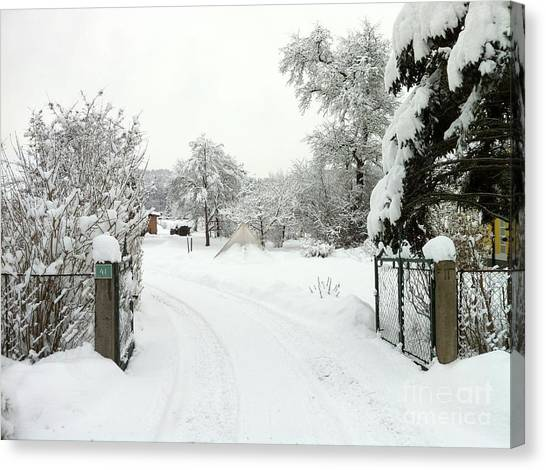 Fence And  Gate In Winter Canvas Print