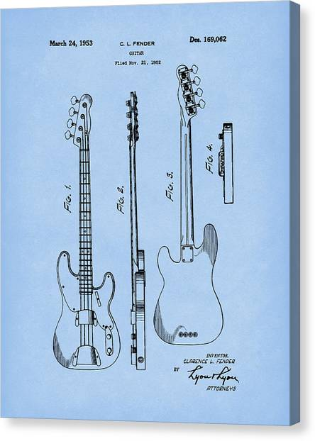 Canvas Print featuring the drawing Fender Bass Guitar 1953 Patent Art Blue2 by Prior Art Design