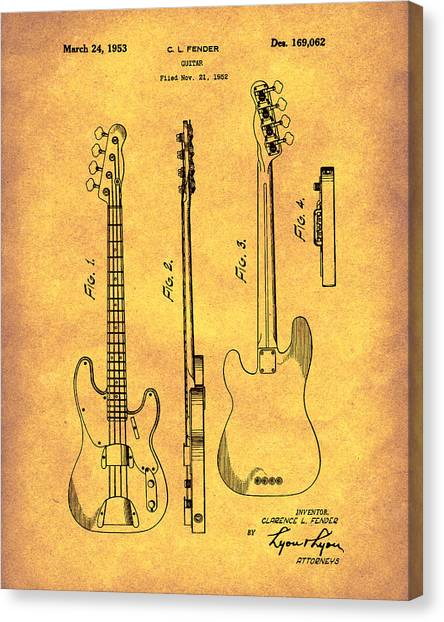 Canvas Print featuring the drawing Fender Bass Guitar 1953 Patent Art Gold by Prior Art Design