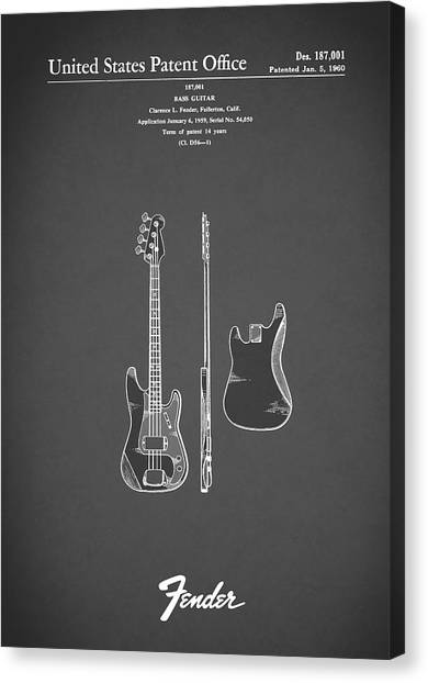 Stratocasters Canvas Print - Fender Bass Guitar 1960 by Mark Rogan