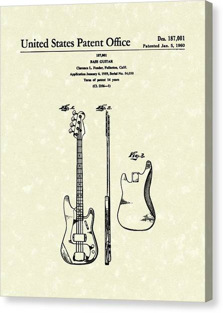 Fender Bass Guitar 1960 Patent Art Canvas Print