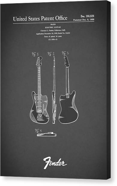 Electric Guitars Canvas Print - Fender Electric Guitar 1959 by Mark Rogan