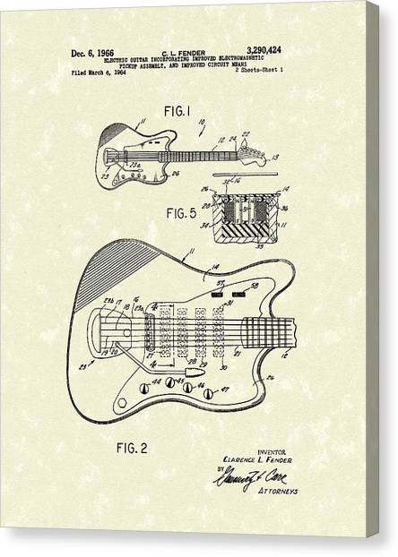 Electric Guitars Canvas Print - Fender Guitar 1966 Patent Art by Prior Art Design
