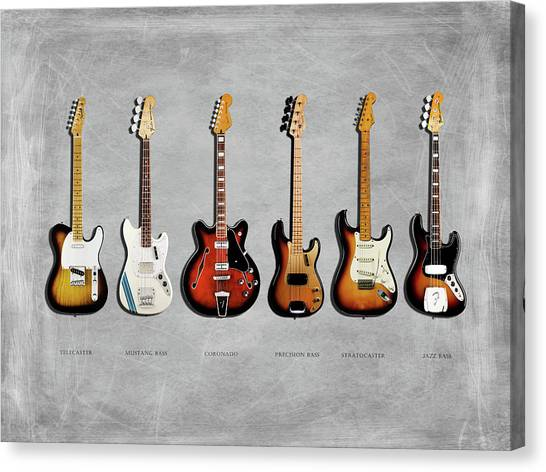 Electric Guitars Canvas Print - Fender Guitar Collection by Mark Rogan