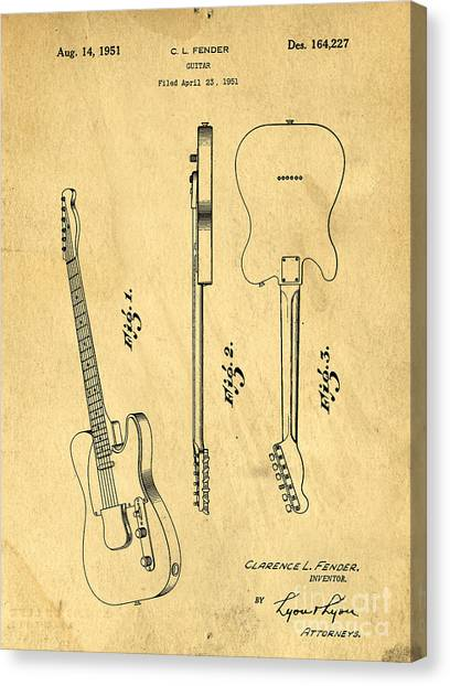 Axes Canvas Print - Fender Guitar Patent by Edward Fielding