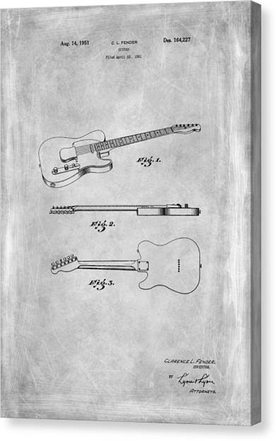 Bass Guitars Canvas Print - Fender Guitar Patent From 1951 by Mark Rogan