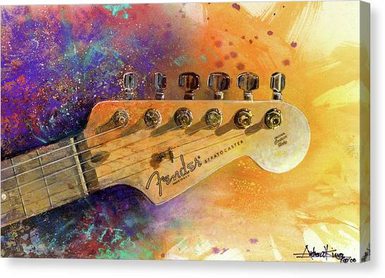 Watercolor Canvas Print - Fender Head by Andrew King