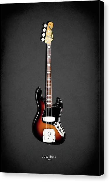 Electric Guitars Canvas Print - Fender Jazzbass 74 by Mark Rogan