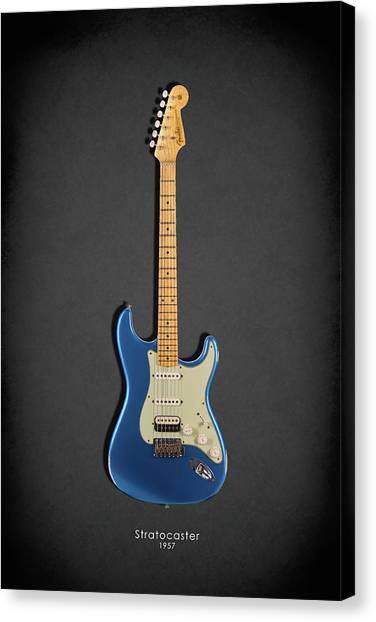 Fender Guitars Canvas Print - Fender Stratocaster 57 by Mark Rogan