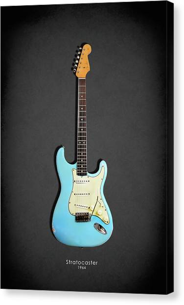 Bass Guitars Canvas Print - Fender Stratocaster 64 by Mark Rogan