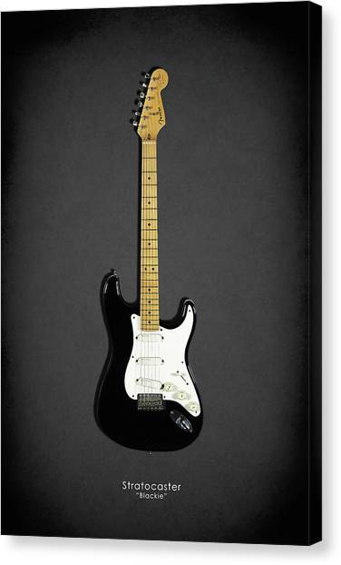 Bass Guitars Canvas Print - Fender Stratocaster Blackie 77 by Mark Rogan